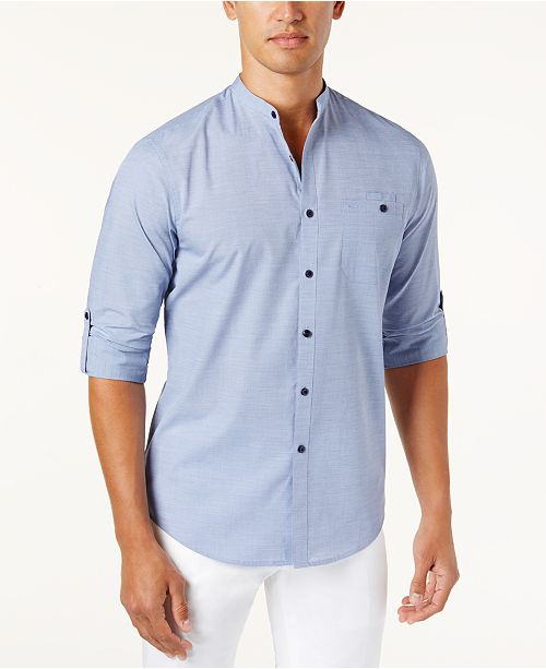 INC International Concepts I.N.C. Men's Band-Collar Utility Shirt, Created for Macy's