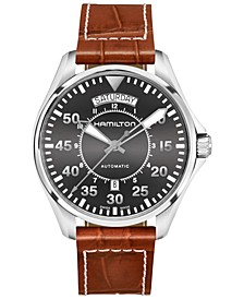 Men's Swiss Automatic Khaki Aviation Croc-Embossed Brown Leather Strap Watch 42mm