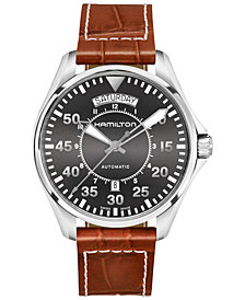 Hamilton Men's Swiss Automatic Khaki Aviation Croc-Embossed Brown Leather Strap Watch 42mm