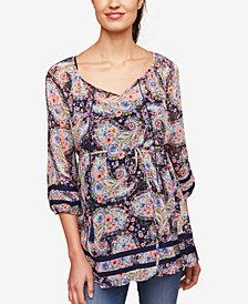 Jessica Simpson Maternity Printed Lace-Trim Blouse
