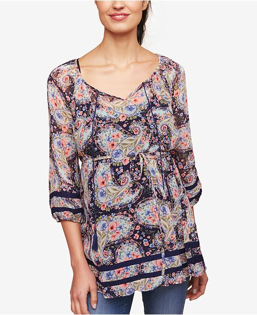 Jessica Simpson Maternity Printed Lace-Trim Blouse