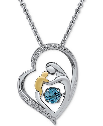 Blue Topaz (5/8 ct. t.w.) & Diamond Accent Mother & Child Pendant Necklace in Sterling Silver & 14k Gold