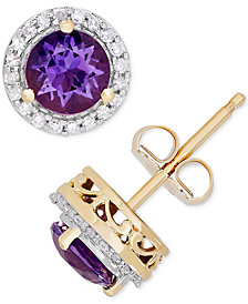 Birthstone Diamond 1 8 Ct T W Halo Stud Earrings In 14k