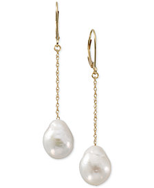 Cultured Freshwater Pearl (12mm) Drop Earrings in 14k Gold