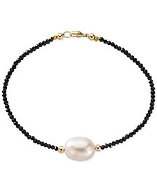 Cultured Freshwater Pearl (10mm) & Black Spinel Bracelet in 14k Gold