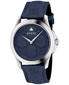 Gucci Unisex Swiss G-Timeless Dark Blue Leather Strap Watch 38mm