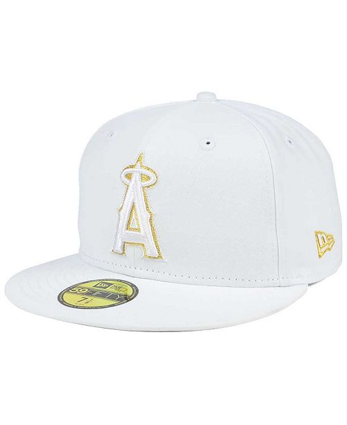 sale retailer 9f38b c0244 ... New Era Los Angeles Angels of Anaheim White On Metallic 59FIFTY Cap ...