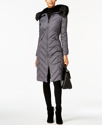 Faux Fur Trim Long Puffer Coat by Laundry By Shelli Segal