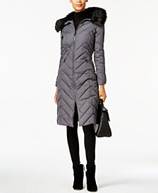 Laundry by Shelli Segal Faux-Fur-Trim Long Puffer Coat