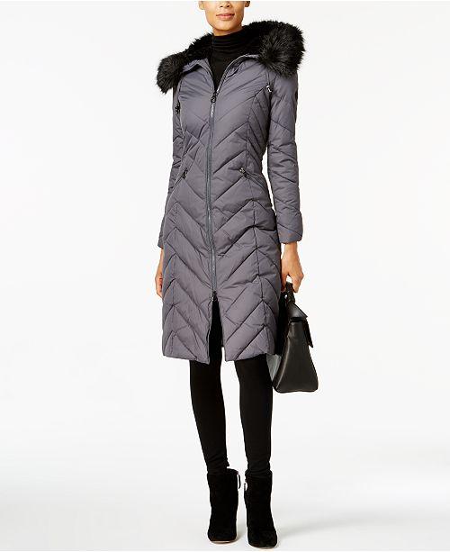 ac61de540aa Laundry by Shelli Segal Faux-Fur-Trim Long Puffer Coat & Reviews ...