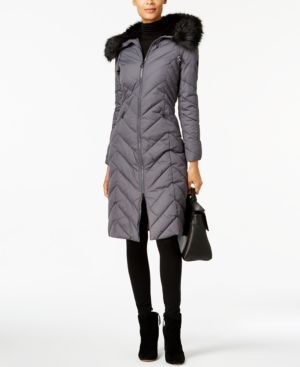 Laundry By Shelli Segal Faux-Fur-Trim Long Puffer Coat in Concrete