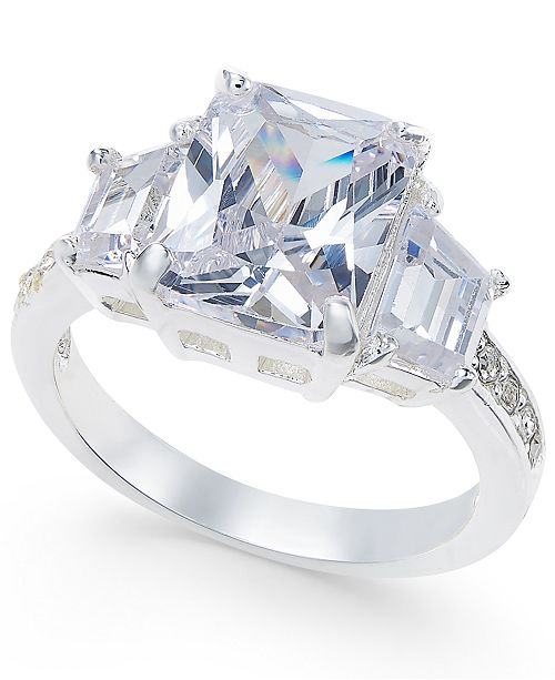Charter Club Silver-Tone Three-Stone and Crystal Statement Ring, Created for Macy's