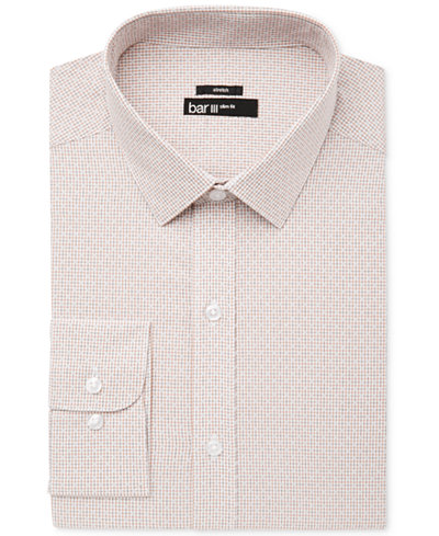 Bar III Men's Slim-Fit Stretch Easy Care Rust Diamond Windowpane Dress Shirt, Created for Macy's