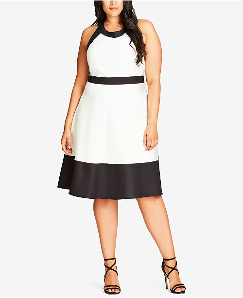 2de4a9cd275 City Chic. Trendy Plus Size Colorblocked Fit   Flare Dress. 1 reviews. main  image  main image ...