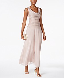 Draped & Ruched Shimmer Gown