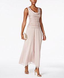 R & M Richards Petite Metallic A-Line Gown
