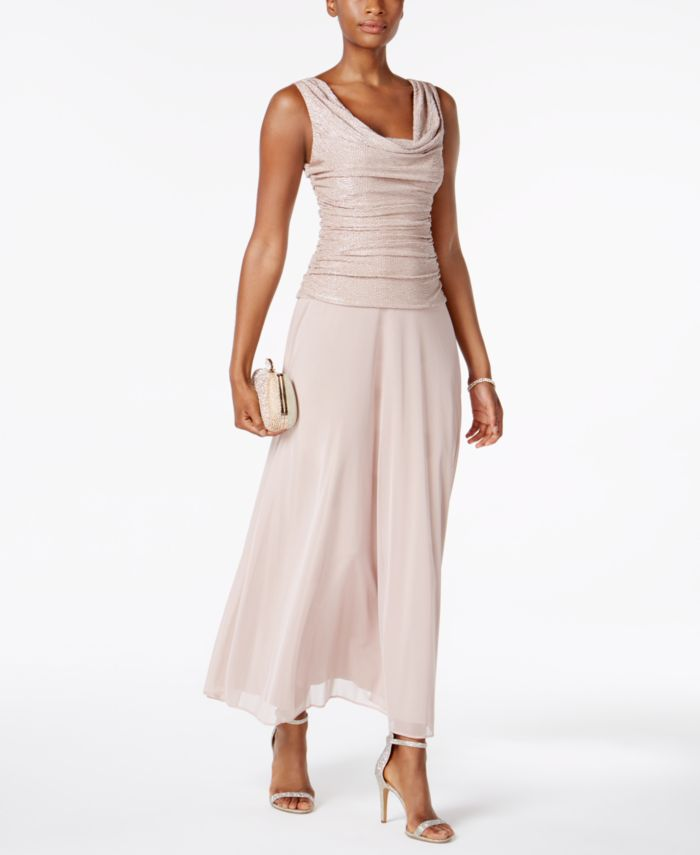 R & M Richards Draped & Ruched Shimmer Gown & Reviews - Dresses - Women - Macy's