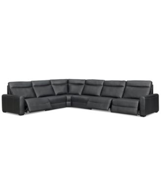 Marzia 6-Pc. Leather Sectional with 3 Power Recliners, Created for Macy's