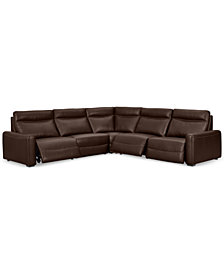 Marzia 5-Pc. Leather Sectional with 3 Power Recliners, Created for Macy's