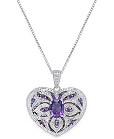 Amethyst (2 ct. t.w.) & Diamond (1/10 ct. t.w.) Heart Locket Pendant Necklace in Sterling Silver (Also available in Garnet)