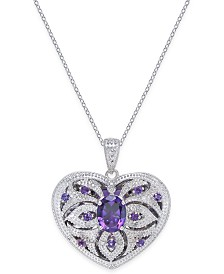 Amethyst (2 ct. t.w.) & Diamond (1/10 ct. t.w.) Heart Locket Pendant Necklace in Sterling Silver