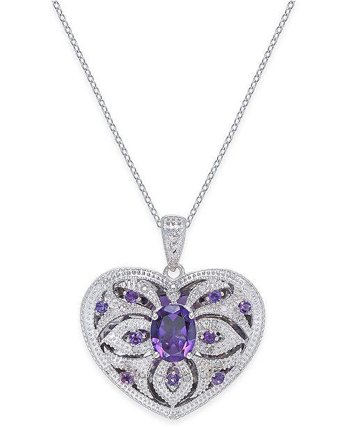 Macy's Amethyst (2 ct. t.w.) & Diamond (1/10 ct. t.w.) Heart Locket Pendant Necklace in Sterling Silver