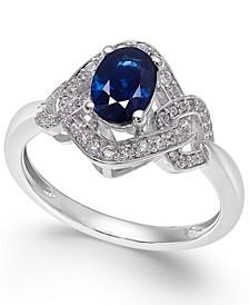 Sapphire (9/10 ct. t.w.) & Diamond (1/4 ct. t.w.) Ring in 14k White Gold