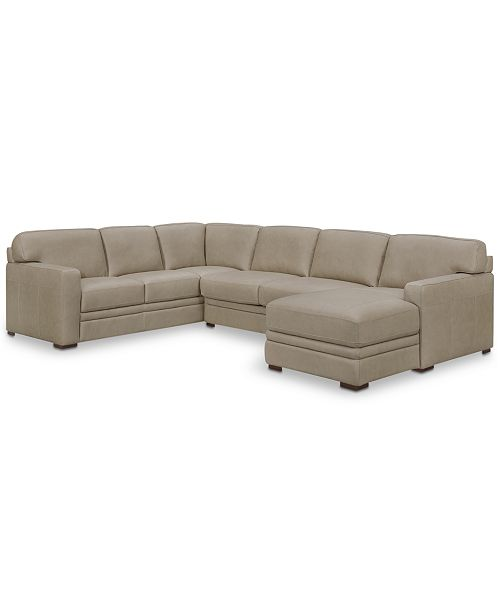 Furniture Avenell 3 Pc Leather Sectional With Chaise Created For Macy S