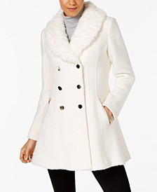 Women's Faux Fur Collar Double Breasted Skirted Coat