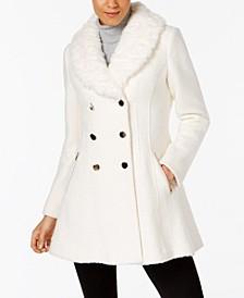 Faux-Fur-Collar Skirted Coat