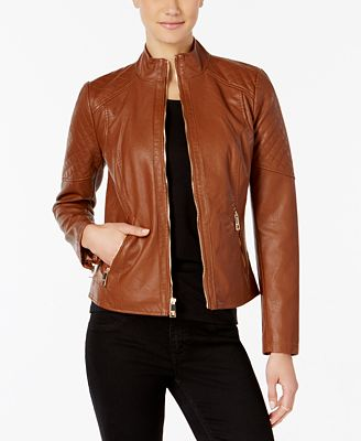 GUESS Stand-Collar Faux-Leather Jacket - Coats - Women - Macy's