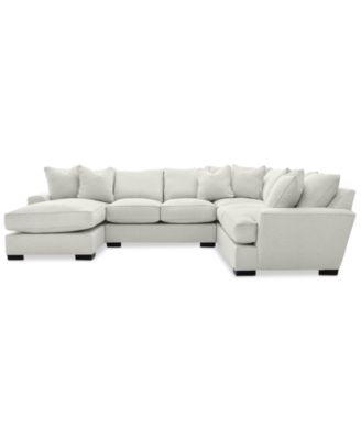ainsley 3piece sectional with chaise armless loveseat u0026 6 toss pillows