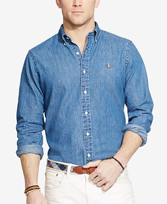 Polo Ralph Lauren Men's Classic-Fit Denim Shirt - Casual Button ...