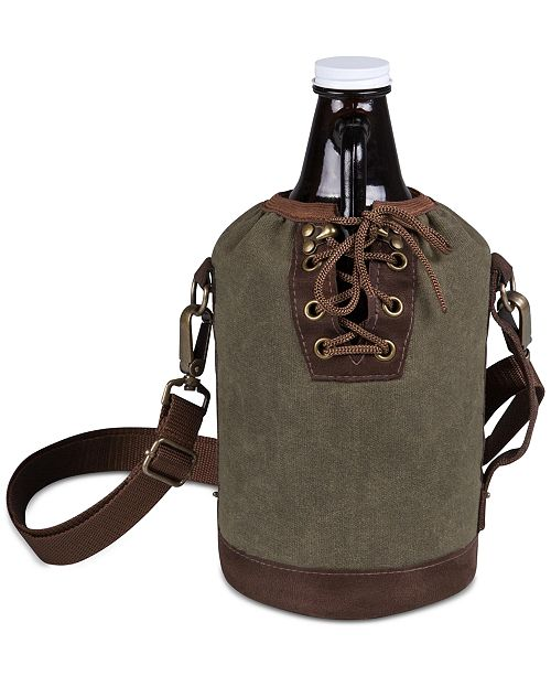 Picnic Time Legacy® by Insulated Growler Tote with 64-Oz. Amber Glass Growler