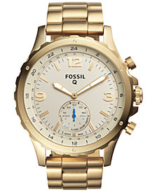 Fossil Q Men's Nate Gold-Tone Stainless Steel Bracelet Hybrid Smart Watch 50mm