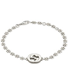 Interlocking Logo Beaded Link Bracelet in Sterling Silver