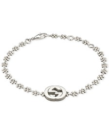 Gucci Interlocking Logo Beaded Link Bracelet in Sterling Silver