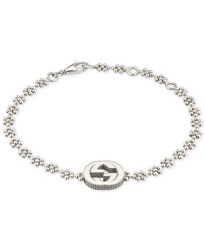 Gucci - Interlocking Logo Beaded Link Bracelet in Sterling Silver