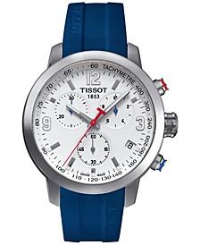Men's Swiss Chronograph PRC 200 Blue Rubber Strap Watch 41x42mm
