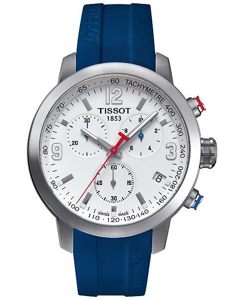 Tissot Men's Swiss Chronograph PRC 200 Blue Rubber Strap Watch 41x42mm
