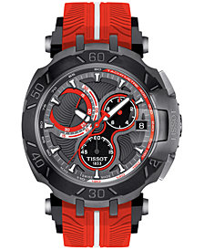 Tissot Men's Swiss Chronograph T-Race Lorenzo Red Silicone Strap Watch 47x45mm - Limited Edition