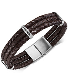 Sutton by Rhona Sutton Men's Stainless Steel Braided Leather and Cubic Zirconia Three-Row Bracelet