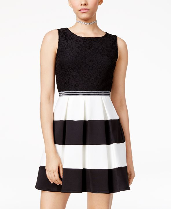 Speechless Juniors' Lace Colorblocked Fit & Flare Dress, A Macy's Exclusive