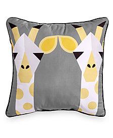 """Scribble Giraffe 16"""" Square Decorative Pillow"""