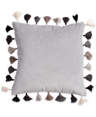 "Velvet 16"" Square Decorative Pillow with Tassels"