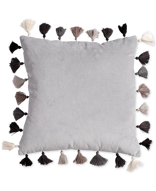 Scribble Velvet 40 Square Decorative Pillow With Tassels Bed In A Impressive Decorative Tassel Pillows