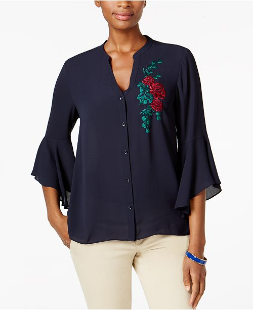 Charter Club Petite Embroidered Blouse, Created for Macy's