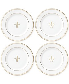Lenox Federal Gold Monogram Tidbit Plates, Set Of 4, Block Letters