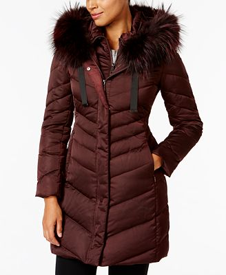 T Tahari Asiatic Raccoon-Fur-Trim Down Puffer Coat