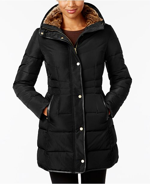 Cole Haan Petite Faux-Fur-Lined Puffer Coat